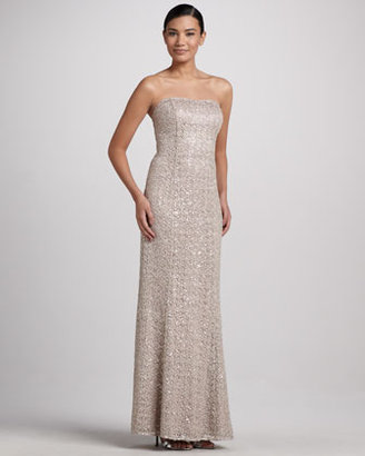 Kay Unger New York Strapless Gown with Sequined & Lace Overlay