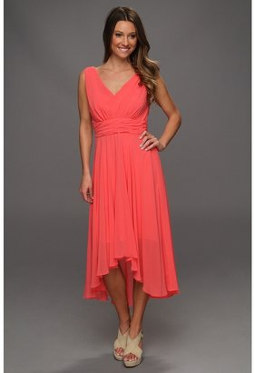 Suzi Chin for Maggy Boutique Sleeveless V-Neck Hi-Lo Hem Women's Dress