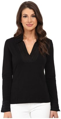 NIC+ZOE - Pleated V Top Women's Long Sleeve Pullover $118 thestylecure.com