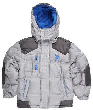 U.S. Polo Assn. Kids - Fleece w/ Ripstop Shell and Taslan Trim (Big Kids) (Light Grey/Charcoal/Royal) - Apparel