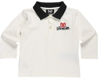D&G Long Sleeve Embroidered Polo Shirt (Infant) (White) - Apparel