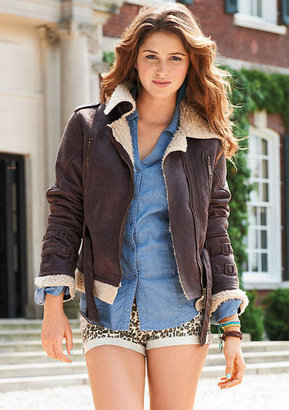 Delia's Shearling Moto Jacket