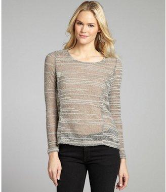 Aryn K grey striped open knit high-low sweater