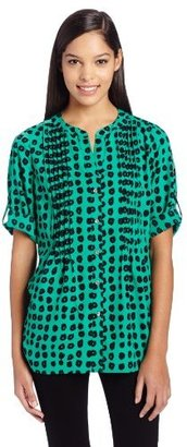 Chaus Women's Pintuck Roll Tab Painted Blouse