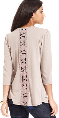 NY Collection Petite Sweater, Three-Quarter-Sleeve Lace-Panel Asymmetrical-Hem Cardigan