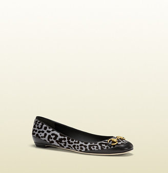 Gucci Carlie Leopard Printed Horsebit Ballet Flat