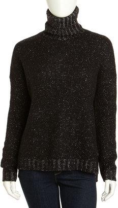 Vince Wool-Cashmere Tweed Turtleneck, Black
