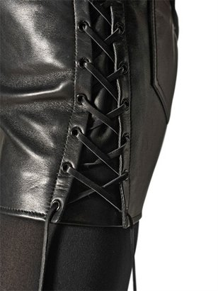 Saint Laurent Lace Up Nappa Leather Mini Skirt