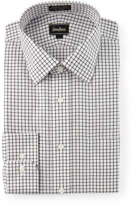 Neiman Marcus Classic-Fit Non-Iron Check Dress Shirt, Brown