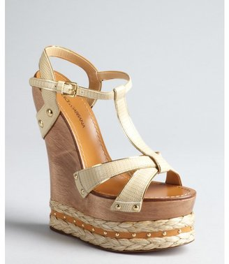 Dolce & Gabbana beige leather espadrille platform wooden wedge t-strap sandals