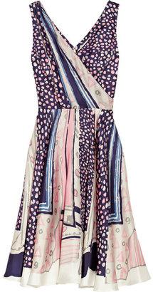 Oscar de la Renta Printed silk-twill wrap-effect dress