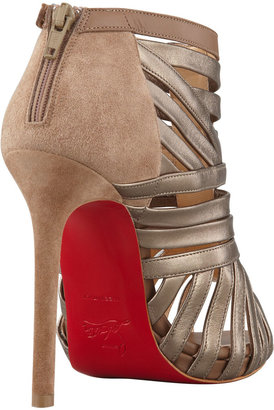 Christian Louboutin Karina Caged Red-Sole Ankle Bootie, Greige