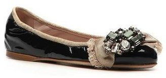 Miu Miu Patent Leather Crystal Ballet Flat