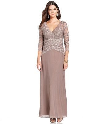Marina Three-Quarter-Sleeve Beaded Lace Gown
