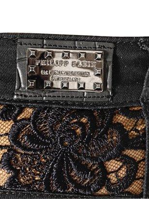 Philipp Plein Skull & Lace Stretch Cotton Denim Shorts