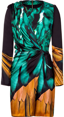 Ungaro Black/Green Draped Silk Dress