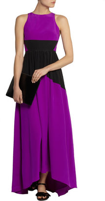 Tibi Color-block washed-silk gown