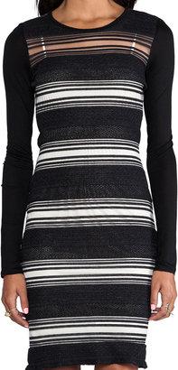 Derek Lam 10 CROSBY Sheer Stripe Long Sleeve Dress