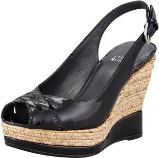 Stuart Weitzman Dolunch Patent Espadrille Wedge Sandal, Black