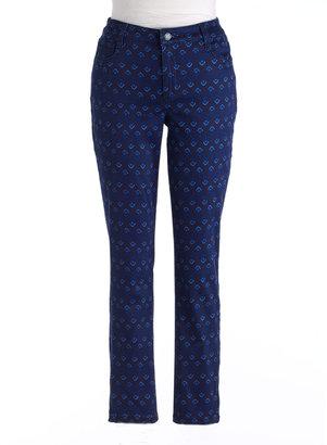 JONES SIGNATURE Plus-Size Bleecker Printed Ankle-Zip Jeans