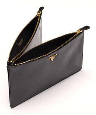 Prada Saffiano Double-Snap Travel Pouch, Black (Nero)