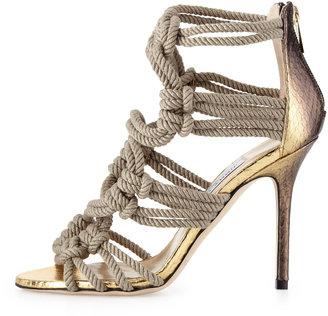 Jimmy Choo Kanoder Snake & Rope Sandal, Black/Gold/Natural