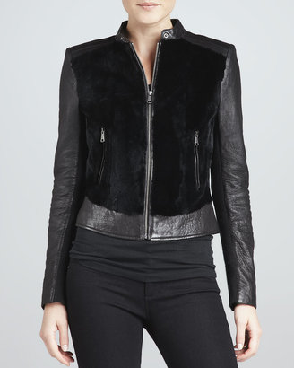 Andrew Marc New York Sadie Fur-Front Leather Jacket