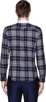 Carven Bule & Red Flannel Contrast-Collar Check Shirt