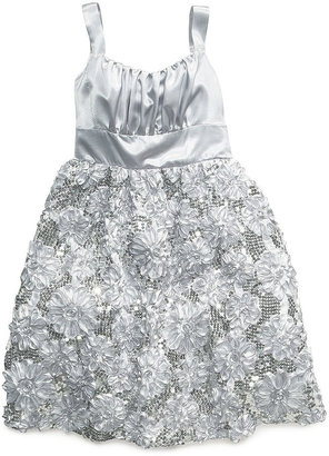 Rare Editions Kids Dress, Girls Satin-Bodice Soutache-Skirt Dress