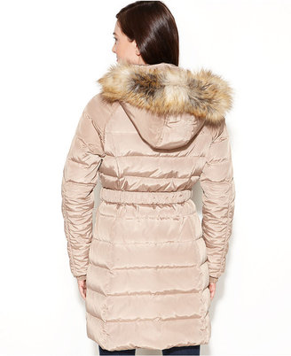 Jones New York Hooded Faux-Fur-Trim Belted Puffer Coat