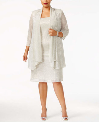 R&M Richards Plus Size Sleeveless Metallic Dress and Jacket $119 thestylecure.com