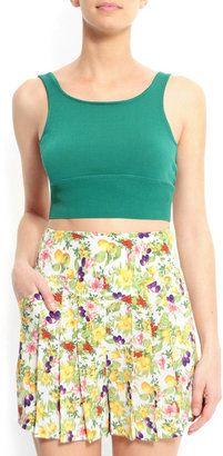 MANGO Slim-fit cropped top with a square neckline