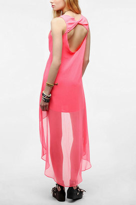 Sparkle & Fade Crinkled Chiffon High/Low Dress
