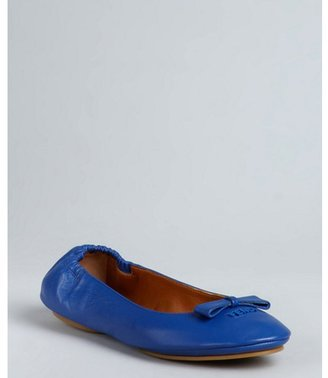 Fendi blue leather bow detail ballet flats