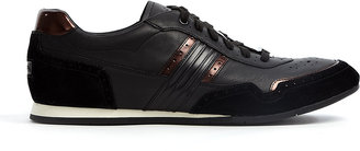Paul Smith Shoes Black Brogued Leather Broderick Sneakers