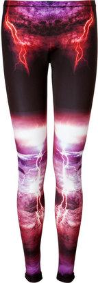 McQ by Alexander McQueen Black-Multi Lightning Print Leggings