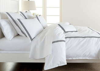 Ethan Allen White Duvet Cover with Black Embroidery
