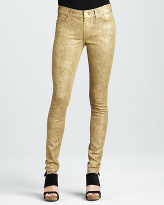 7 For All Mankind Skinny Gold Metallic Floral-Print Jeans
