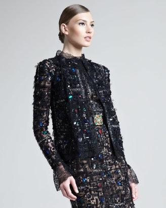 Oscar de la Renta Jeweled Tweed/Lace Jacket