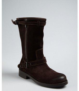 Bottega Veneta chocolate suede distressed toe buckle boots