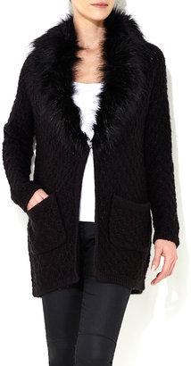 Wallis Black Faux Fur Collar Cardigan
