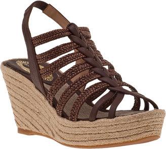 Elie Tahari Alicia Espadrille Wedge Sandal Nutmeg Leather