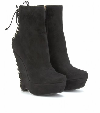Yves Saint Laurent MADGE 105 LACED SUEDE ANKLE BOOTS