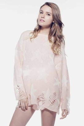 Wildfox Couture Seeing Stars Lennon Winter Sweater in Pink Peony