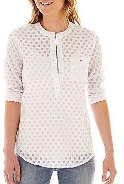 Liz Claiborne Long-Sleeve Dot Shirt
