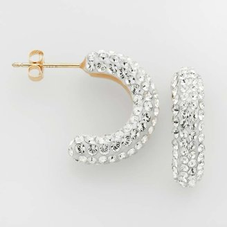 Swarovski Gold N Ice Gold 'N' Ice 10k Gold Crystal C-Hoop Earrings - Made with Crystals