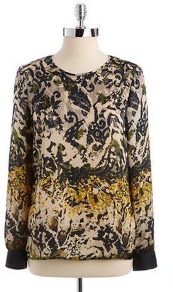 Vince Camuto Camo Lace Vented-Back Top
