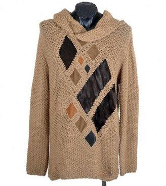 Roberto Cavalli excellent (EX Camel Hair, Leather & Fur Sweater