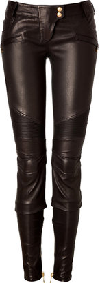 Balmain Leather Biker Pants in Black