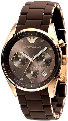 Emporio Armani Watch, Women's Brown Silicone Wrapped Gold-Tone Stainless Steel Bracelet AR5891